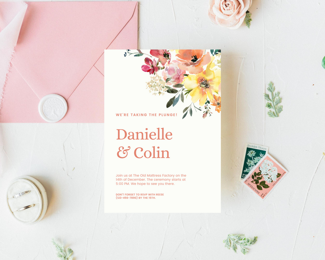 Peach Vanilla Floral Printed Wedding Invitations