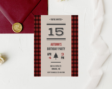 Load image into Gallery viewer, Lumberjack Flannel Printed Birthday Party Invitations