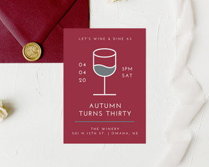 Wine & Dine Printed Adult Birthday Party Invitations
