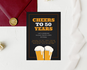 Cheers to Years Printed Adult Birthday Party Invitations