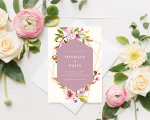 Cherry Blossom Geometric Printed Wedding Invitations