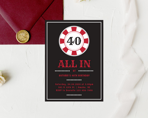 Poker Night Printed Adult Birthday Party Invitations