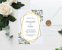 Load image into Gallery viewer, Olive Branch Geometric Printed Wedding Invitations