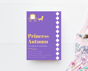 Princess Printed Birthday Party Invitations