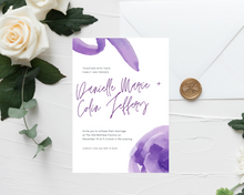 Load image into Gallery viewer, Watercolor Purple Printed Wedding Invitations