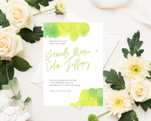 Load image into Gallery viewer, Watercolor Yellow & Green Printed Wedding Invitations