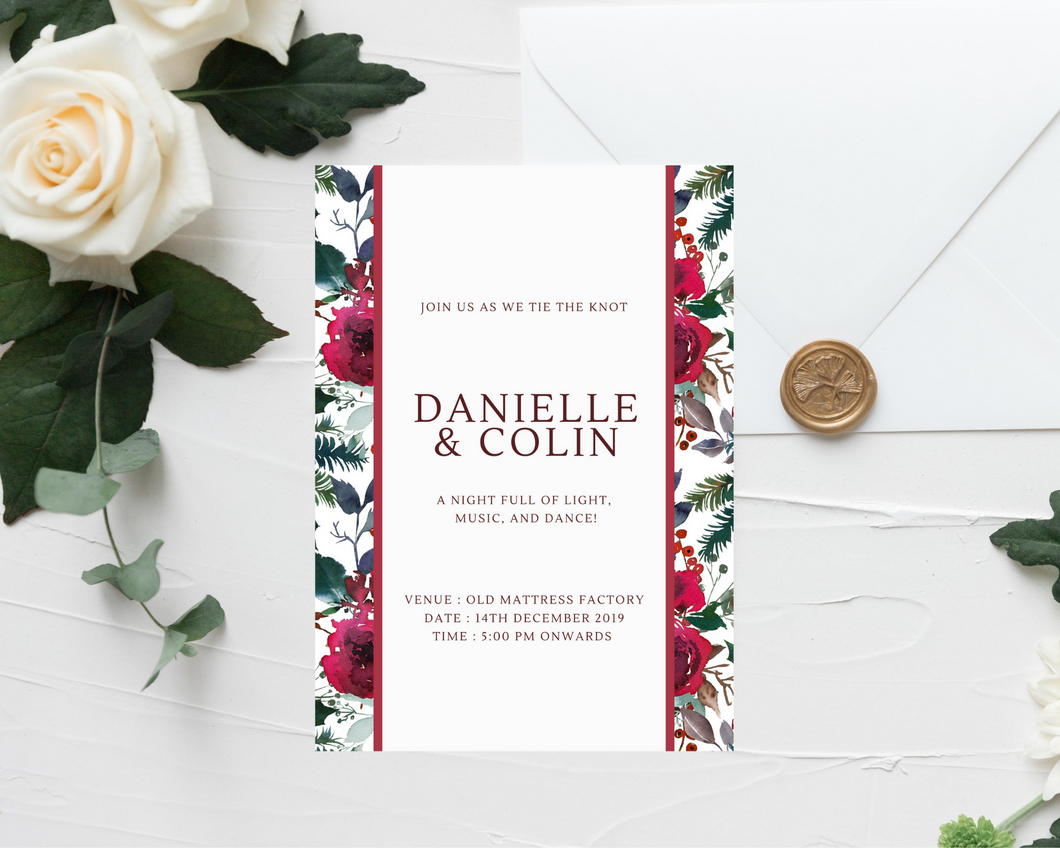Burgundy Christmas Floral Border Printed Wedding Invitations