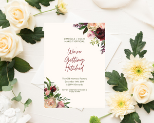 Velvet Floral Corners Printed Wedding Invitations