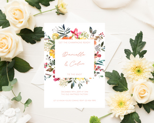 Peach Vanilla Floral Frame Printed Wedding Invitations