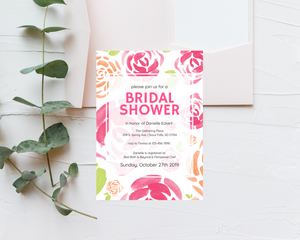 Watercolor Floral Printed Bridal Shower Invitations