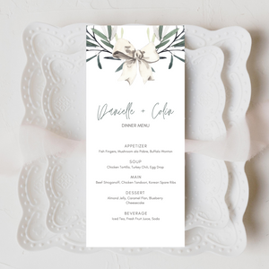 Winter Watercolor Snowberries Printed Menu Cards