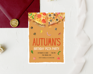 Pizza Party Printed Birthday Party Invitations