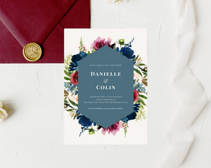 Bordo & Navy Geometric Printed Wedding Invitations