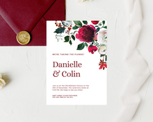 Load image into Gallery viewer, Burgundy Christmas Floral Printed Wedding Invitations