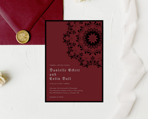 Gothic Mandala Printed Wedding Invitations