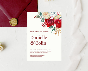 Boho Scandi Floral Printed Wedding Invitations