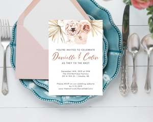 Neutral Boho Floral Palm Printed Wedding Invitations