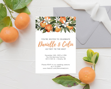 Load image into Gallery viewer, Orange Clementine Floral Printed Wedding Invitations