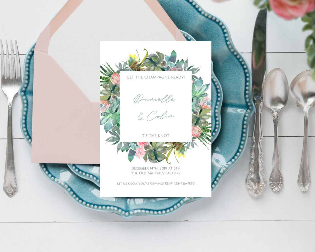 Cacti Floral Frame Printed Wedding Invitations