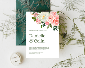 Rose Bouquets Printed Wedding Invitations