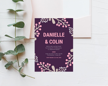 Load image into Gallery viewer, Pink & Purple Printed Rehearsal Dinner Invitations