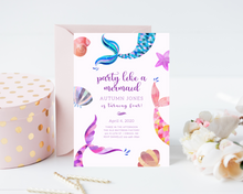 Load image into Gallery viewer, Mermaid Tails Printed Birthday Party Invitations
