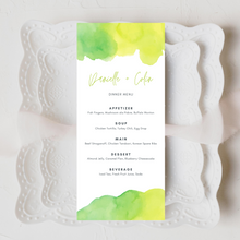 Load image into Gallery viewer, Watercolor Yellow & Green Printed Menu Cards