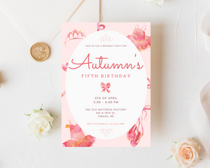 Ballerina Printed Birthday Party Invitations