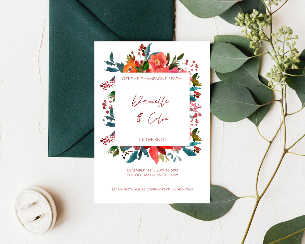 Christmas Bright Floral Printed Wedding Invitations