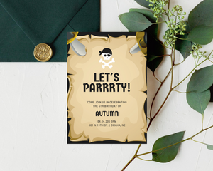 Pirate Party Printed Birthday Party Invitations