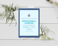 Load image into Gallery viewer, Nautical Anchor Printed Rehearsal Dinner Invitations