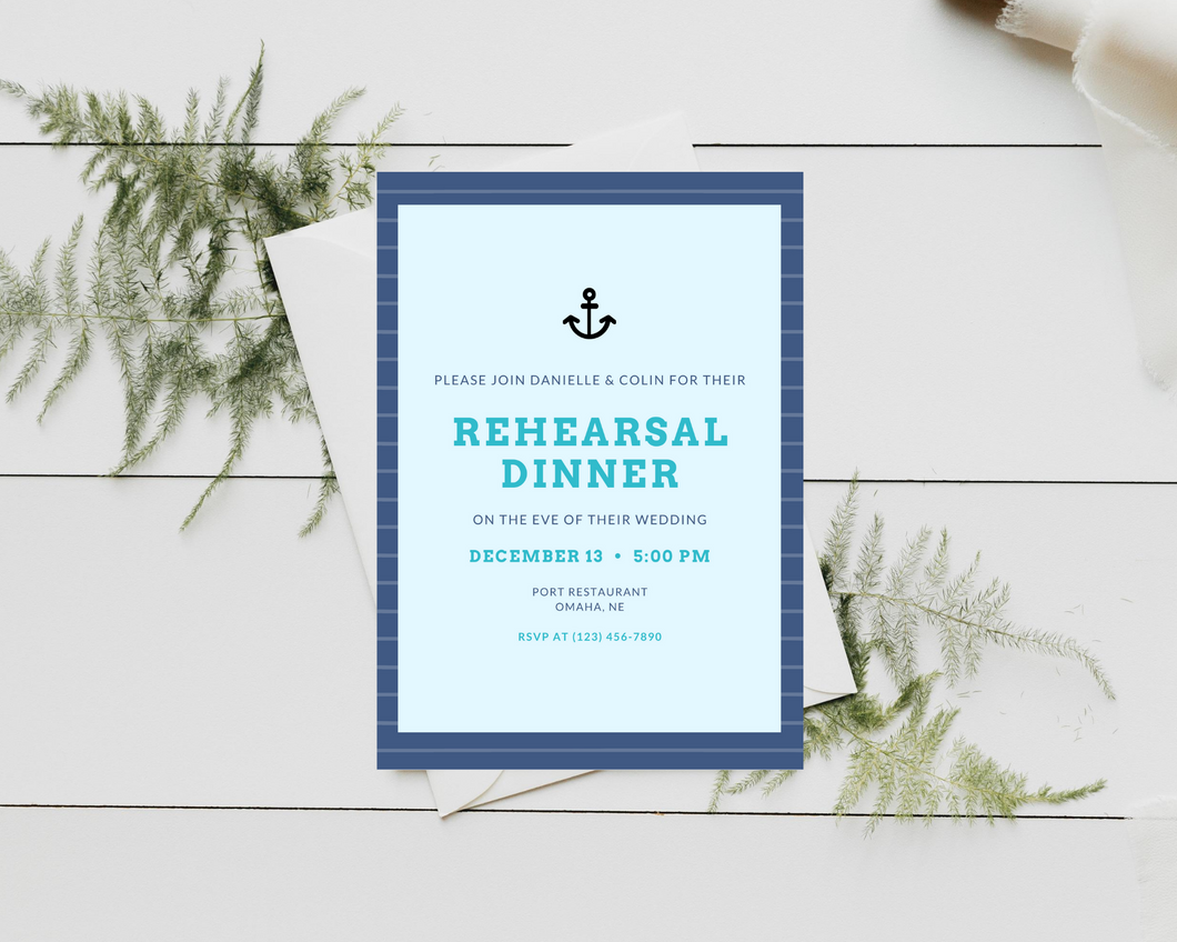 Nautical Anchor Printed Rehearsal Dinner Invitations