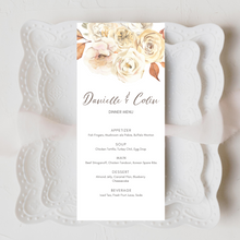 Load image into Gallery viewer, Rustic Fall Floral Printed Menu Cards
