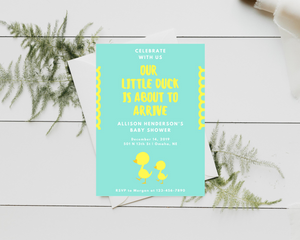 Little Duck Printed Baby Shower Invitations