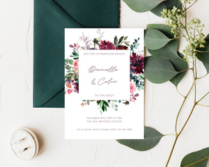 Whisper Floral Frame Printed Wedding Invitations