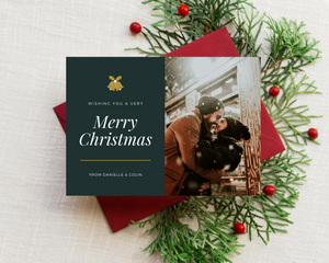 Gold Bells Printed Holiday Cards