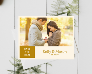 Golden Photo Printed or Magnet Save the Date