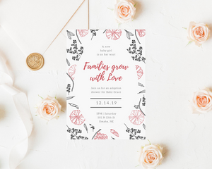 Pink & Black Floral Printed Baby Shower Invitations
