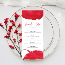 Load image into Gallery viewer, Watercolor Red Printed Menu Cards