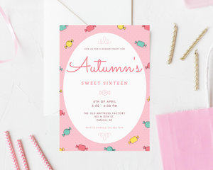 Candy 'Sweet Sixteen' Printed Birthday Party Invitations