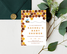 Load image into Gallery viewer, Baby Bee Printed Baby Shower Invitations