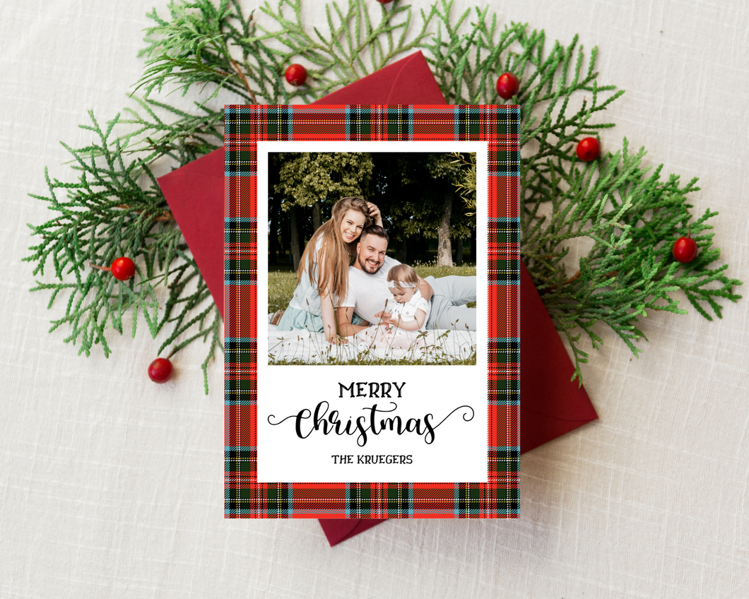 Plaid Christmas Printed Holiday Cards