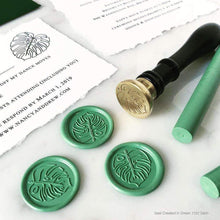 Load image into Gallery viewer, Monstera Love Wax Seals designed by Nancy Moy Calligraphy - 25 Pack
