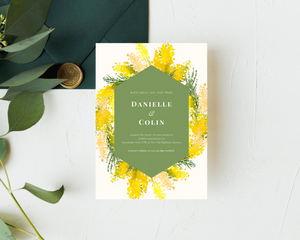 Charming Mimosa Geometric Printed Wedding Invitations