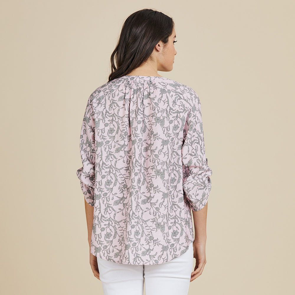 VINE PRINT GATHERED BLOUSE