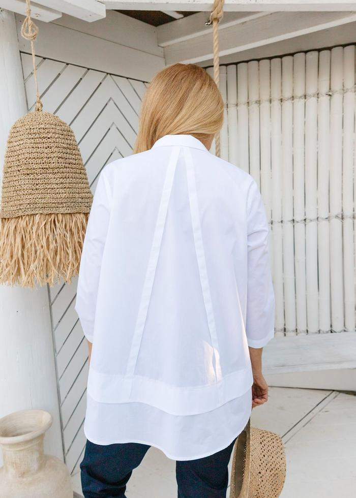 LAYERED HEM 3/4 SHIRT