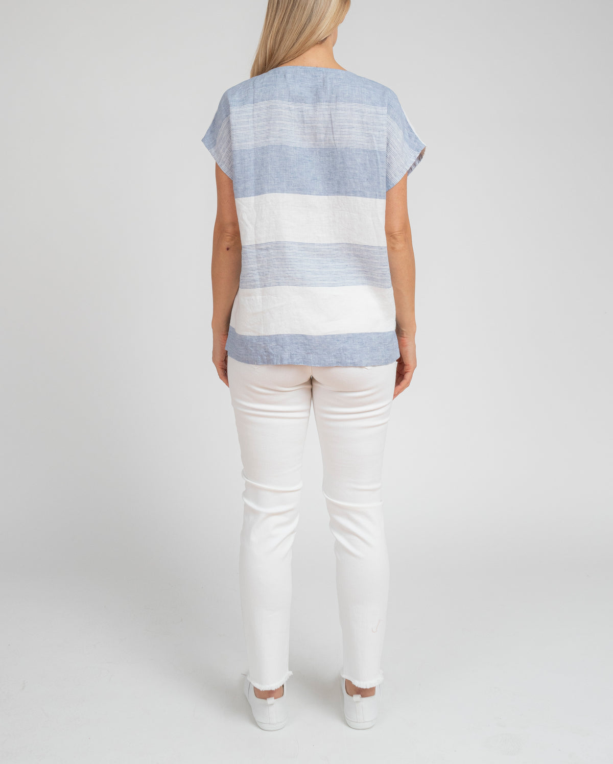 BLOCK STRIPE WOVEN LINEN TOP