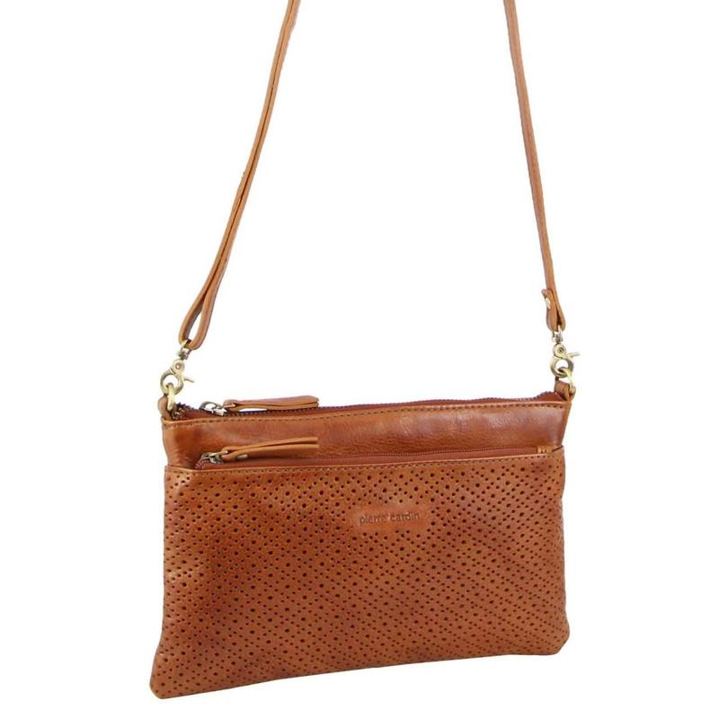PERFORATED LEATHER CROSS-BODY BAG/CLUTCH