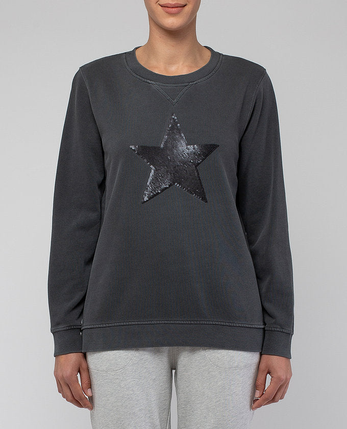 LONG SLEEVE PIGMENT STAR SWEAT TOP ANISEED