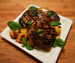 Grilled Pork Chops with Grilled Peaches and Balsamic